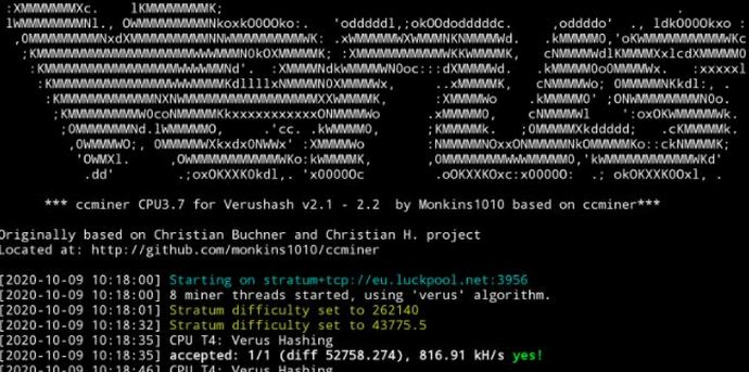 ccminer1 b - Cara Install CCMINER (cpu) Verus Coin di Armbian - Ubuntu Bionic 18